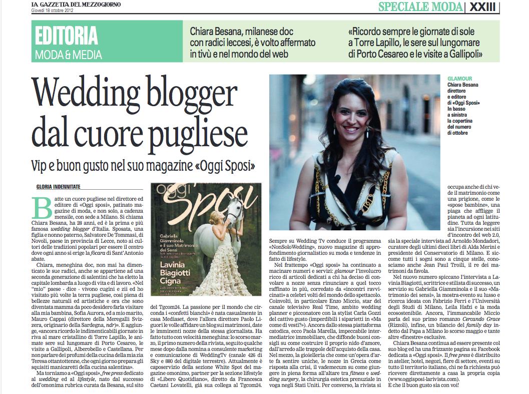 """La Gazzetta del Mezzogiorno – """"Wedding blogger dal cuore pugliese"""""""